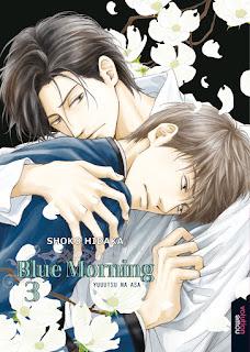 """tercer tomo del BL Yaoi """"Blue morning"""" (Yuuutsu na asa)."""