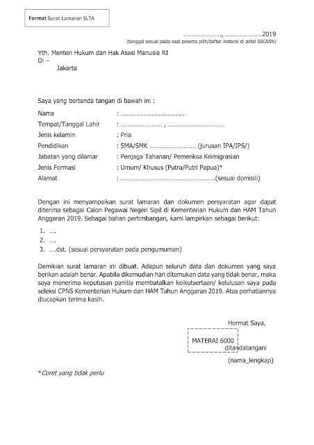 Contoh Surat Lamaran dan Surat Pernyataan CPNS Tahun 2019