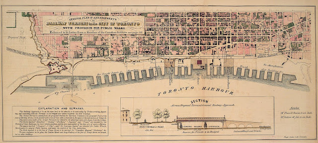 1853 Scobie: General Plan of Arrangements for Railway Termini for the City of Toronto with Provision for Public Walks