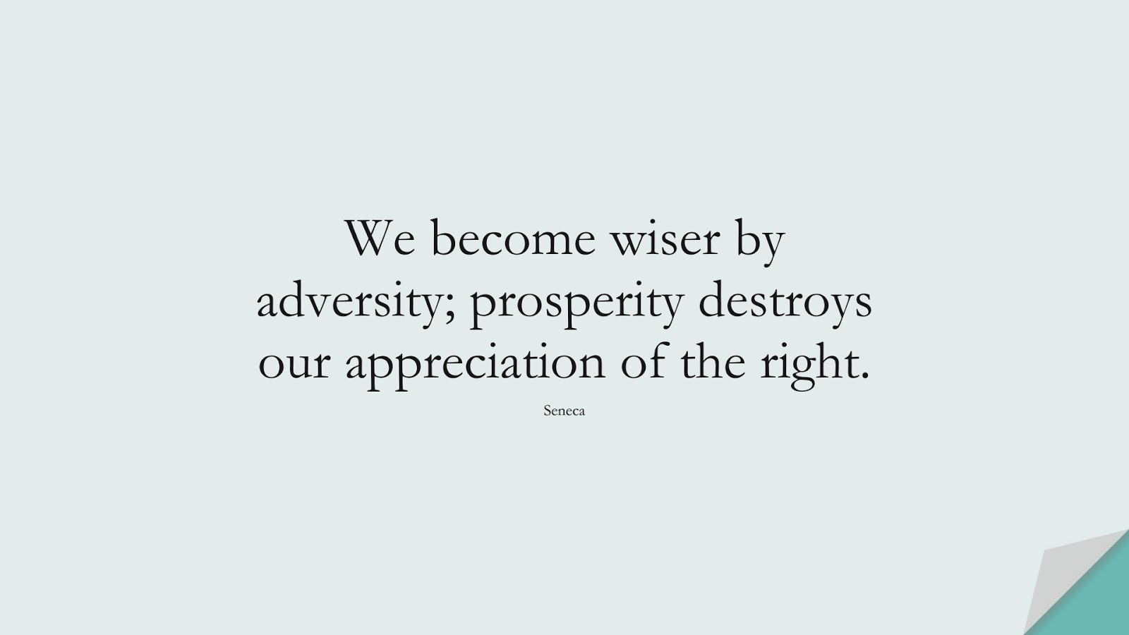 We become wiser by adversity; prosperity destroys our appreciation of the right. (Seneca);  #WordsofWisdom