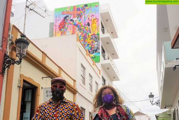"""""""Pop's descent"""" de Okuda San Miguel ya cuelga en una de las paredes del CEMFAC"""