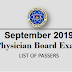 September 2019 Physician Board Exam Result, Top 10 Passers