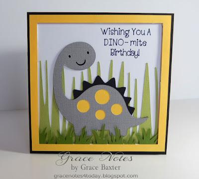 Dino-mite child's birthday card, designed by Grace Baxter