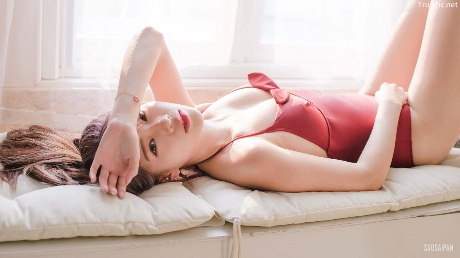Chinese hot streaming girl - 簡欣汝 - Red Swimming Suit - TruePic.net - Picture 2