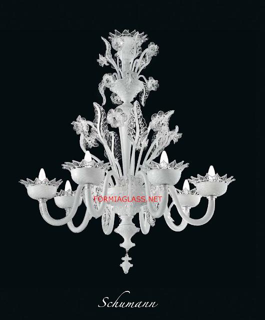 Schumann-lampadario-di-Murano-bianco-della-vetreria-Formia