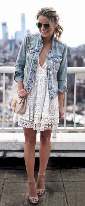 what to wear with a white lace dress : nude sandals + bag + denim jacket