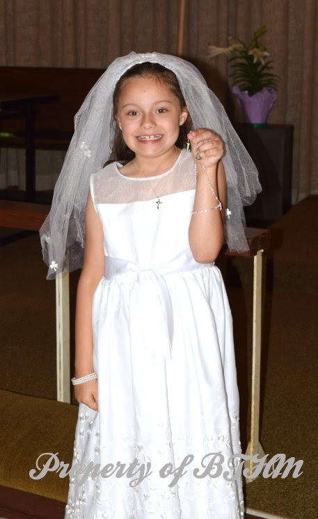 miss grace  first communion dress and rosary