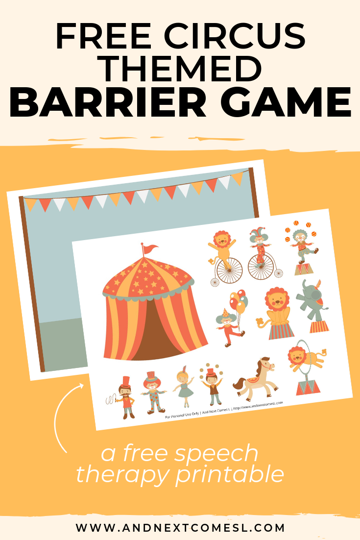 Free speech therapy barrier game: circus themed