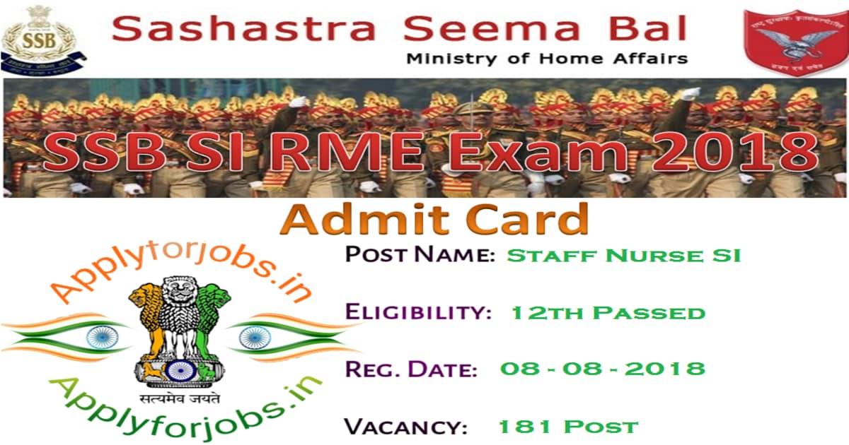 SSB ASI/SI RME Admit Card 2020, applyforjobs.in