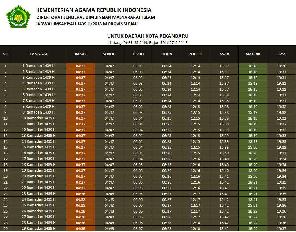 Jadwal Imsakiyah Ramadhan 1439 H Pekanbaru (Riau) 2018