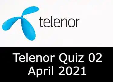 Telenor Quiz Today 2 April 2021 | Telenor Quiz Answers Today 2 April