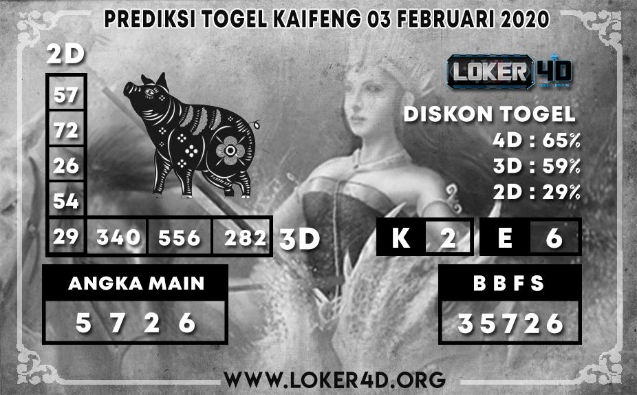 PREDIKSI TOGEL KAIFENG LOKER4D 03 FEBRUARI 2020