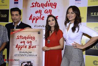 Sonakshi Sinha Karan Johar at Aishwarya Rajinikanth Standing on an Apple Box Book Launch Event  0067.jpg
