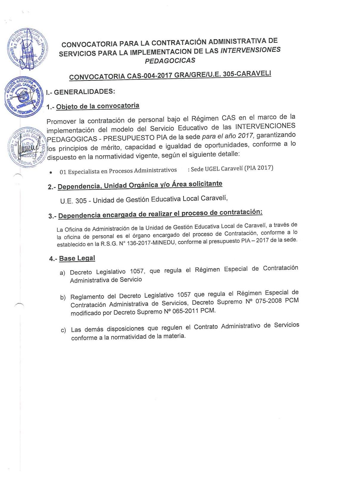 Convocatoria cas 004 2017 gra gre u e 305 caraveli for Convocatoria de plazas docentes 2017