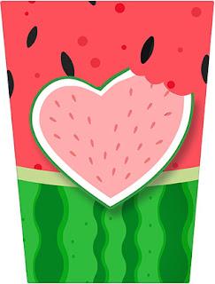 Corazón de Sandía: Etiquetas para Candy Bar para Descargar Gratis.