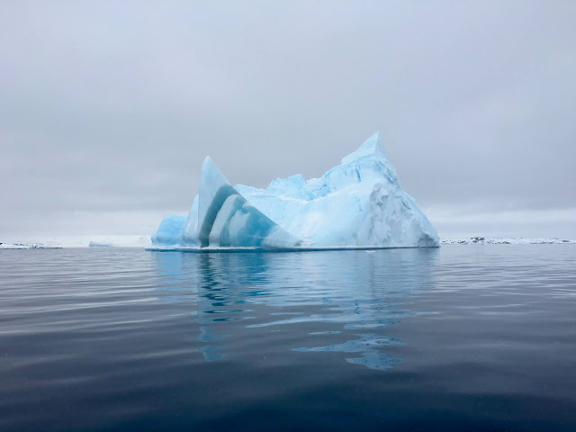 A large iceberg in Antarctica. The ice is tinted blue.