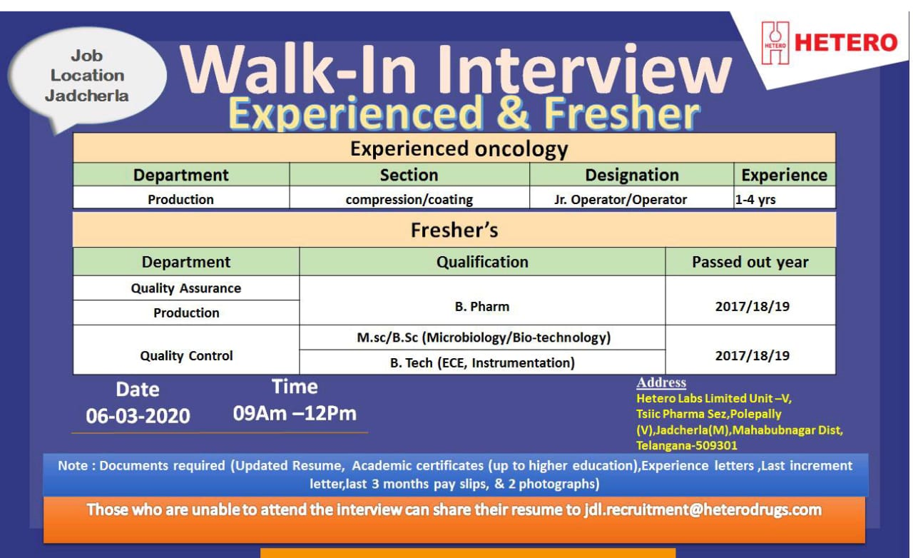 Hetero Labs Limited - Walk-In Interview for Freshers & Experienced - Production | QA | QC on 6th Mar' 2020 @ Jadcherla