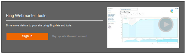 sign bing webmaster tools