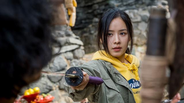 Ahn Ji-hye with a sword