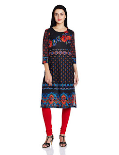 Cotton Black A-Line Kurta from Rain and Rainbow Round Neck Kurti by FashionDiya
