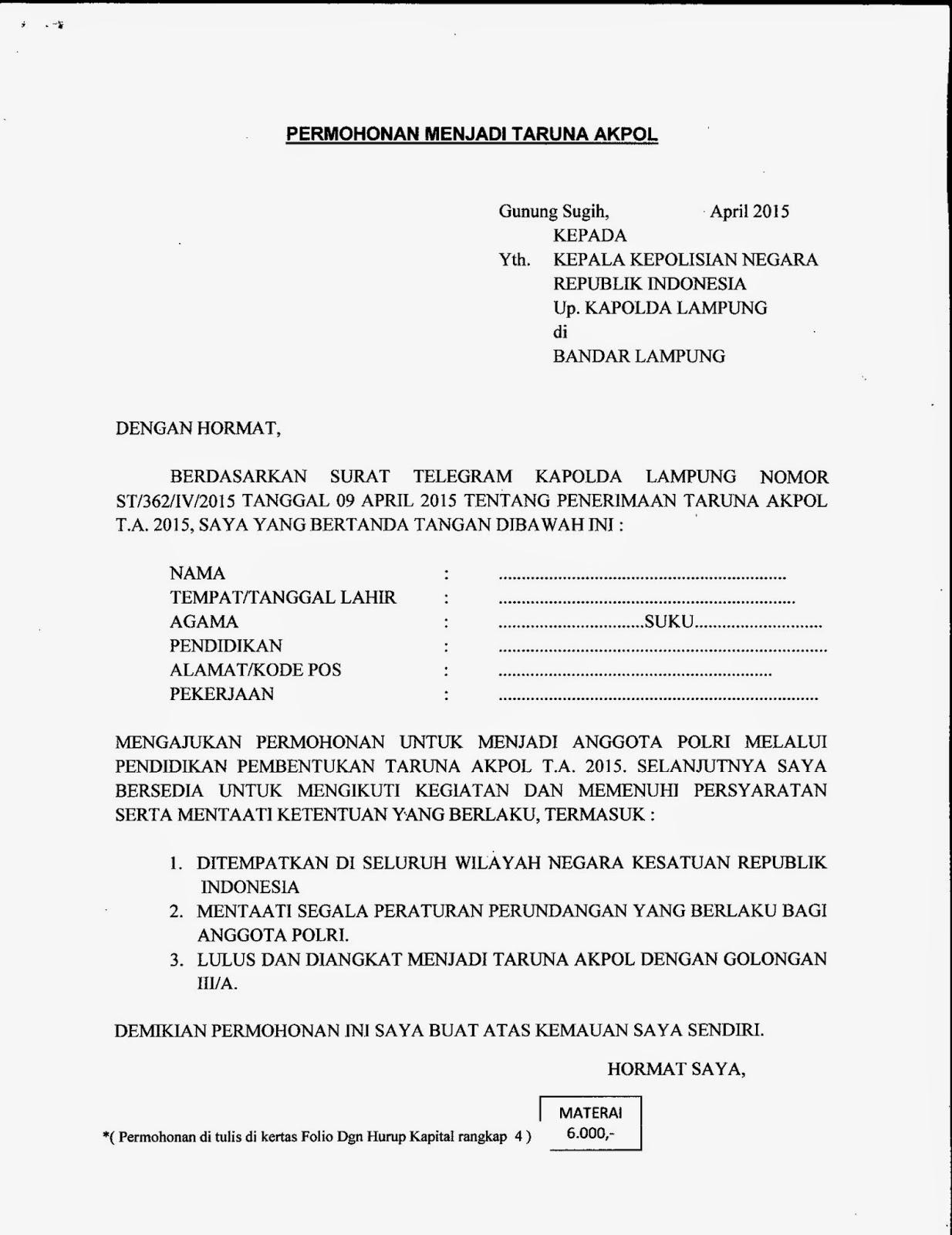 Polres Lampung Tengah Contoh Format Surat Permohonan Menjadi