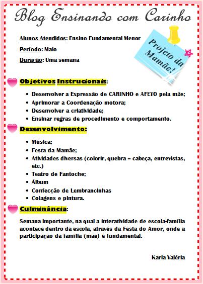 Projeto Básico para desenvolver na semana comemorativa do dia das mães com alunos do Ensino Fundamental/ou e menor, com duração de uma semana.