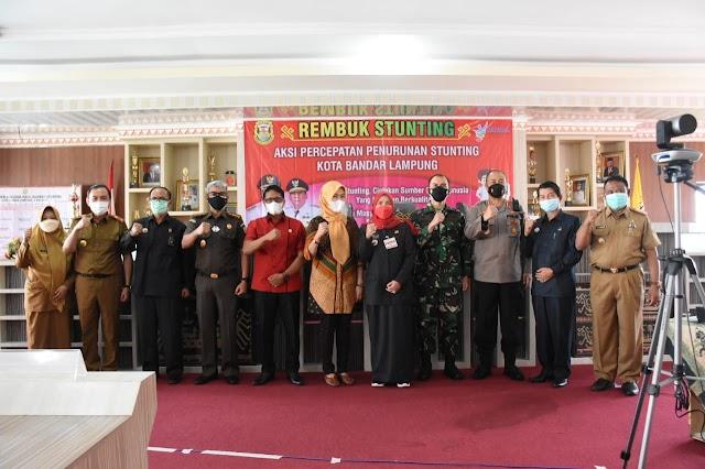 Dandim 0410/KBL Kolonel Inf Romas Herlandes, S.E.,M.Si.,M.M., Dan Hj. Eva Dwiana Hadiri Rembuk Stunting Digedung Tapis Berseri