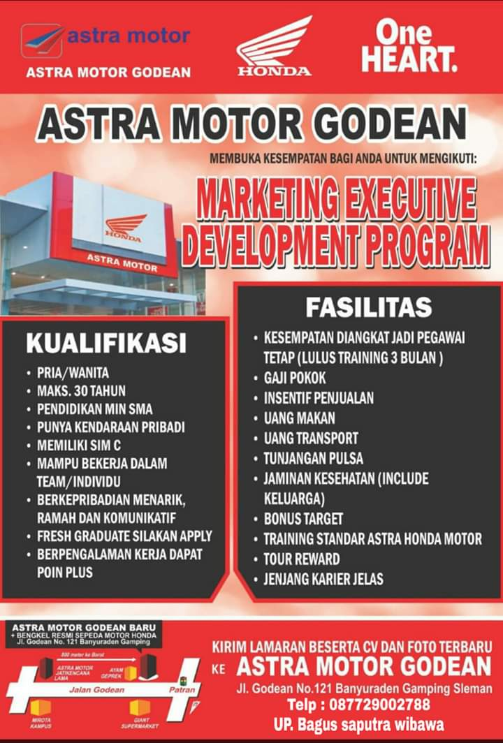 Lowongan Kerja Astra Motor Godean Yogyakarta Posisi Marketing Executive Development Program Loker Swasta
