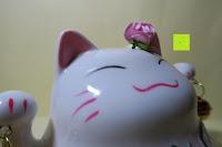 Kopf: Japanische Maneki Neko Glückskatze aus Porzellan (Klein, 12 cm)