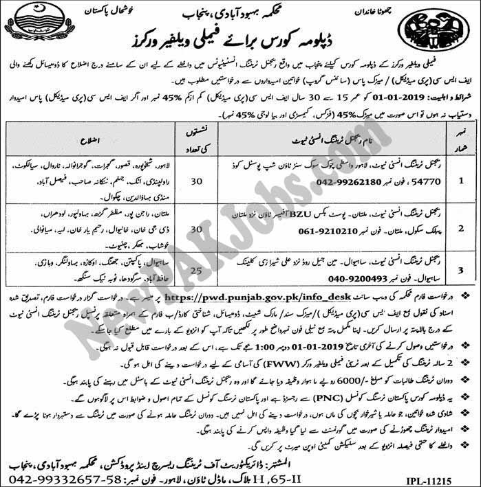Diploma Course of Family Welfare Workers Govt of Punjab
