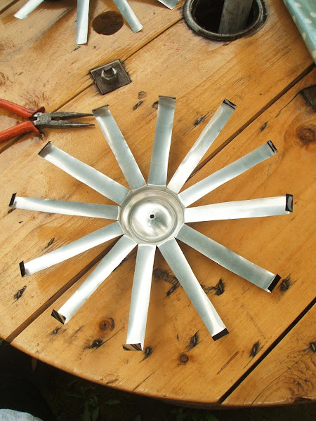 photos showing process of creating wind spinner