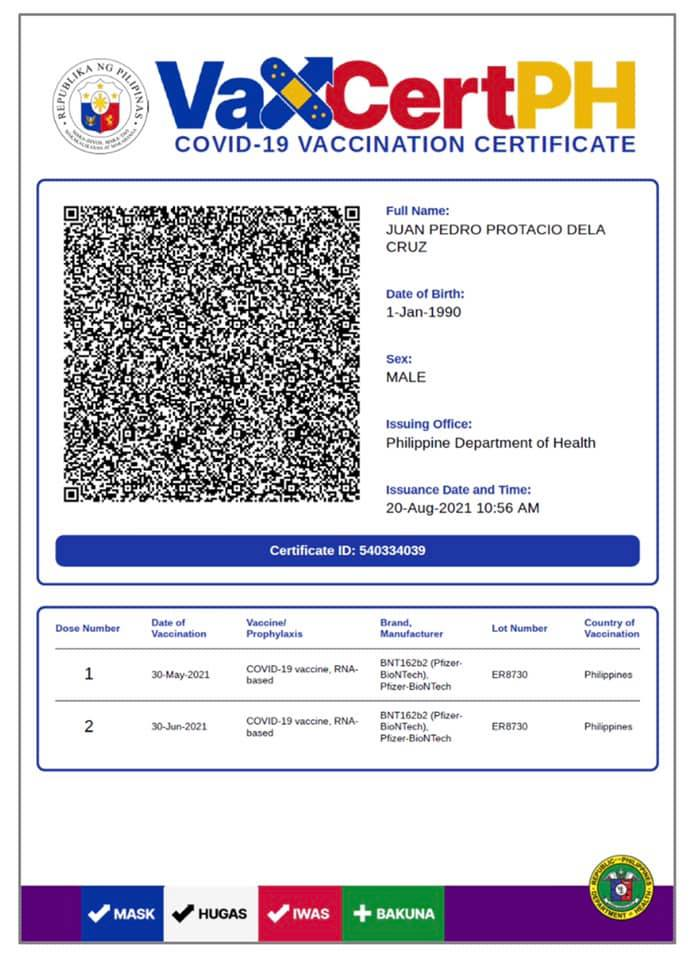 Sample VaxCertPH COVID19 National Digital Vaccination Certificate from DICT