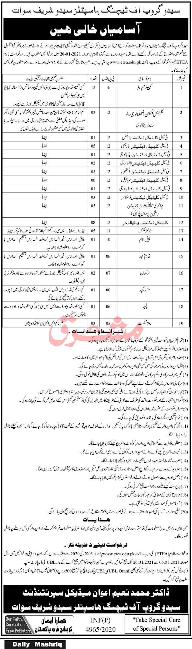 Saidu Group of Teaching Hospital Jobs 2021 - Swat Jobs 2021 - Government of KPK Jobs 2021