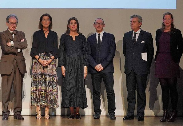Princess Caroline of Hanover and Charlotte Casiraghi attended The Prince Pierre Foundation's 2018 award ceremony. Caroline's floral print skirt