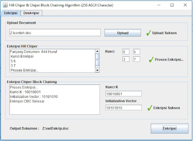 Kriptografi Dokumen Word (Doc) Menggunakan Gabungan Algoritma Hill Chiper dan Chiper Block Chaining