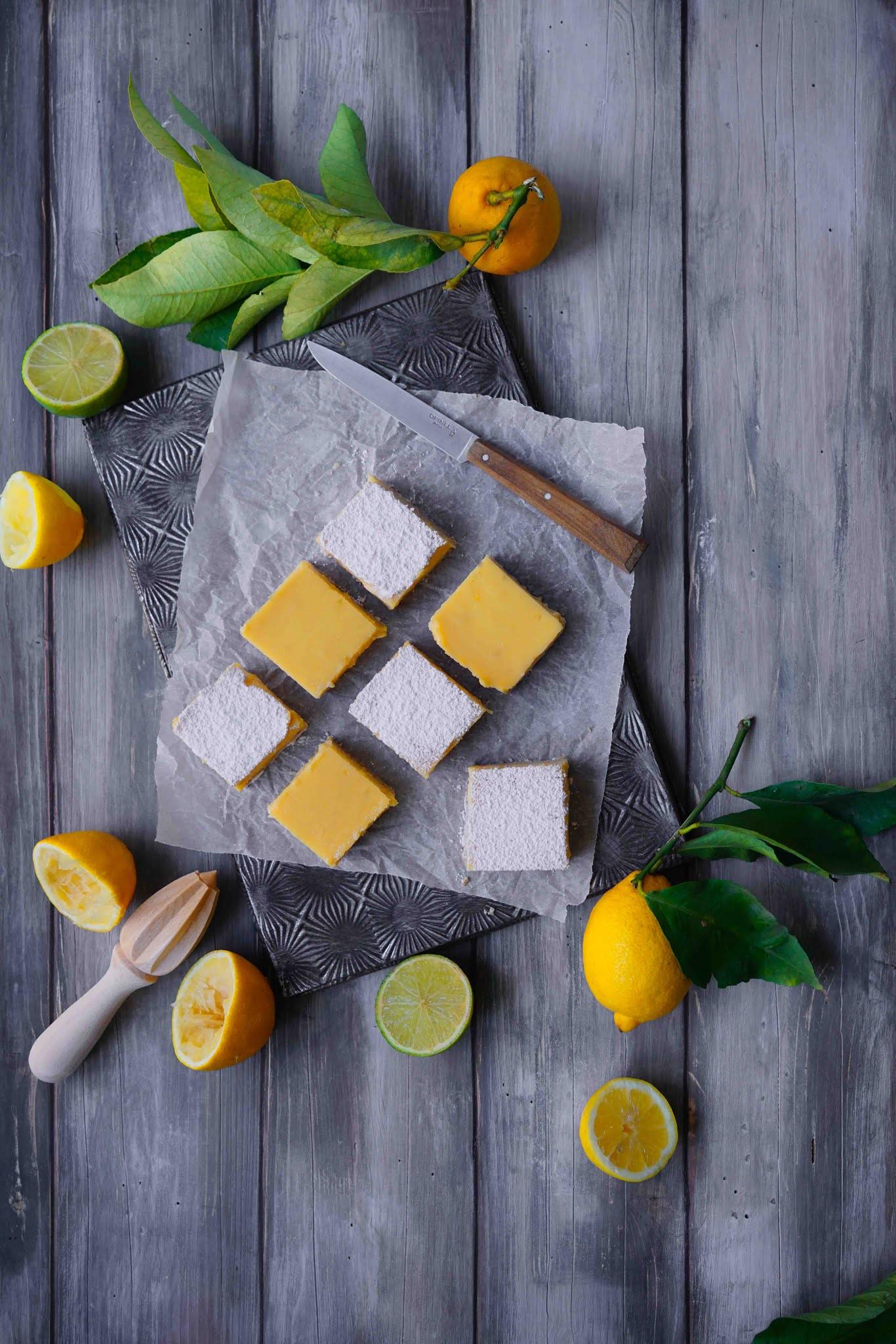 carrés au citron , lemon , dessert au citron
