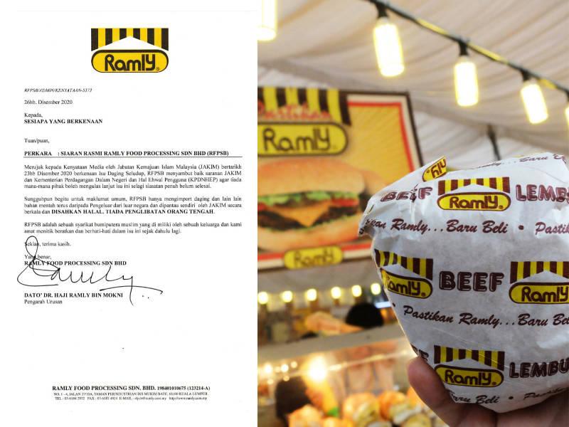 Ramly Burger Mengesahkan Mereka Menggunakan Daging Halal Yang Dipantau Oleh JAKIM