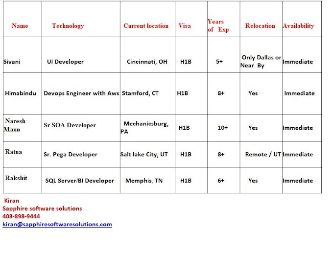 Hot list of consultants in USA