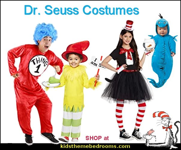 dr seuss costumes Dr. Seuss Cat in the Hat Halloween Costume Dr. Seuss Thing 1 Thing 2 Kids Costume