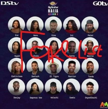 List of fake BBNaija season 6 housemates.
