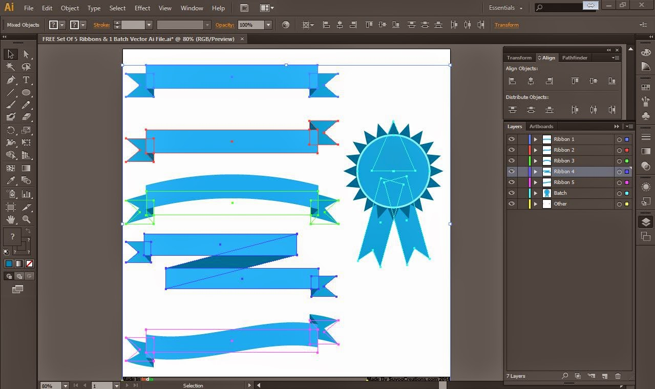 5 Ribbons and 1 Batch Vector .PSD and .Ai File.
