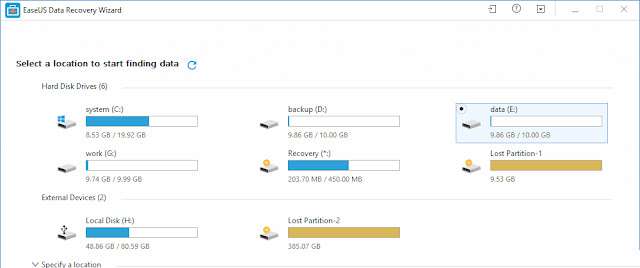 Pilih drive memory card kemudian tekan Scan