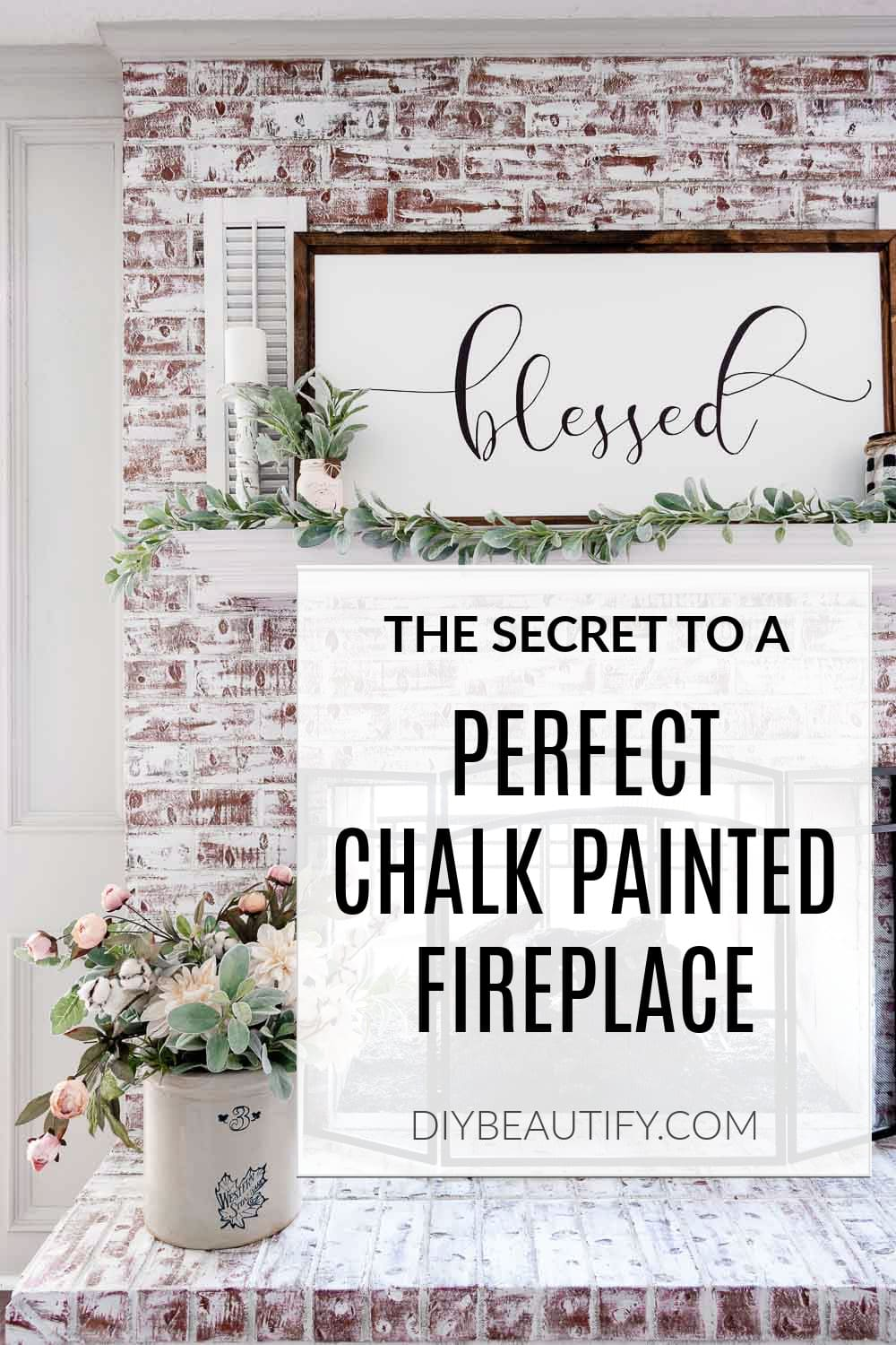 white chalk painted fireplace