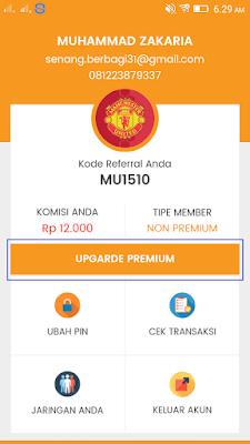 upgrade member menjadi premium