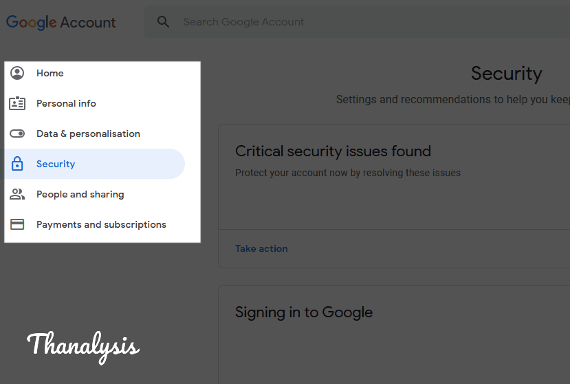 Navigate to the security tab from the left panel