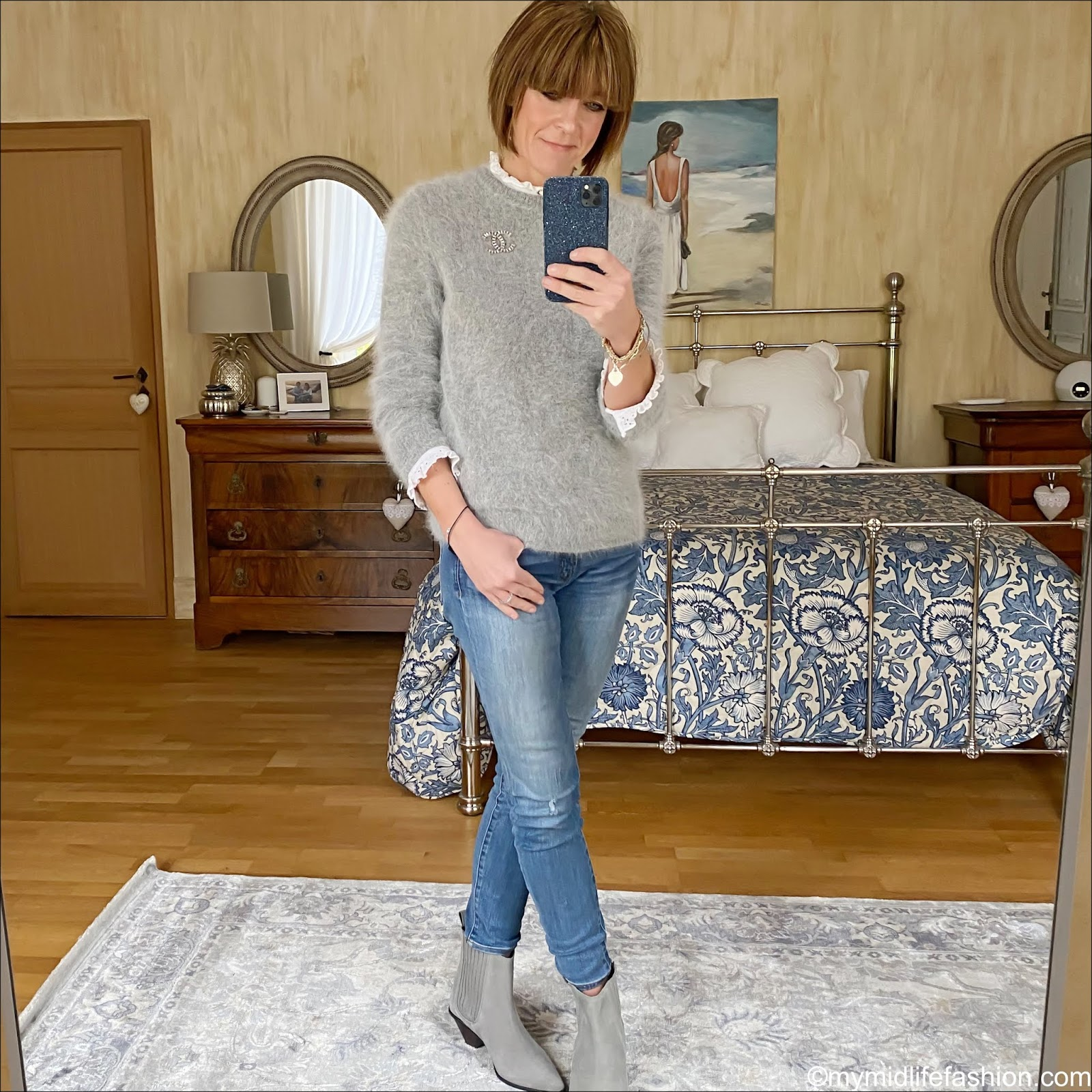 my midlife fashion, American vintage crew neck jumper, Zara embroidered blouse, j crew 8 inch toothpick jeans, jigsaw western heel ankle boots