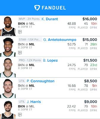 Free Fanduel NBA Lineup 06.17.21