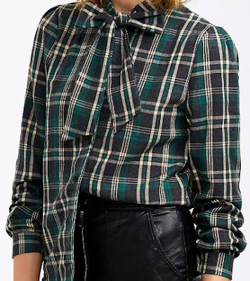 plaid blouse, shirt, blouse, green, bow, mašna, karirano, uzorak, print, karirana košulja, mašna, stil, moda, trendy, trend