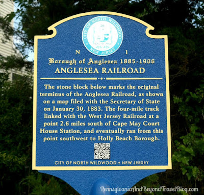 Anglesea Railroad Historical Marker in North Wildwood, New Jersey