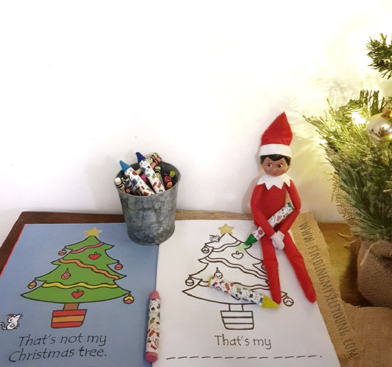 elf colouring in book